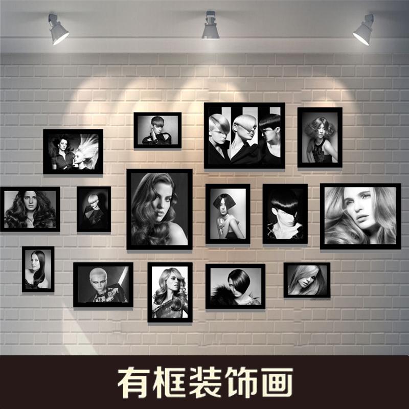 黑白人物发型相框墙美容创意挂画