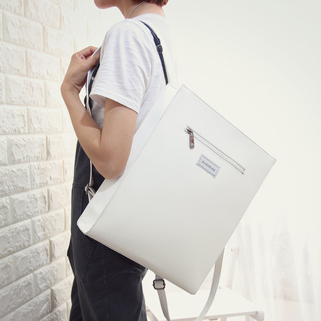 Japanese ulzzang retro soft girl backpack mens and womens College Students schoolbag rectangular shaped Backpack