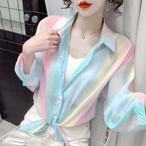 YF54739# 时尚彩虹防晒衣女夏季新款薄款雪纺开衫外传长袖宽松衬衫 服装批发女装直播货源