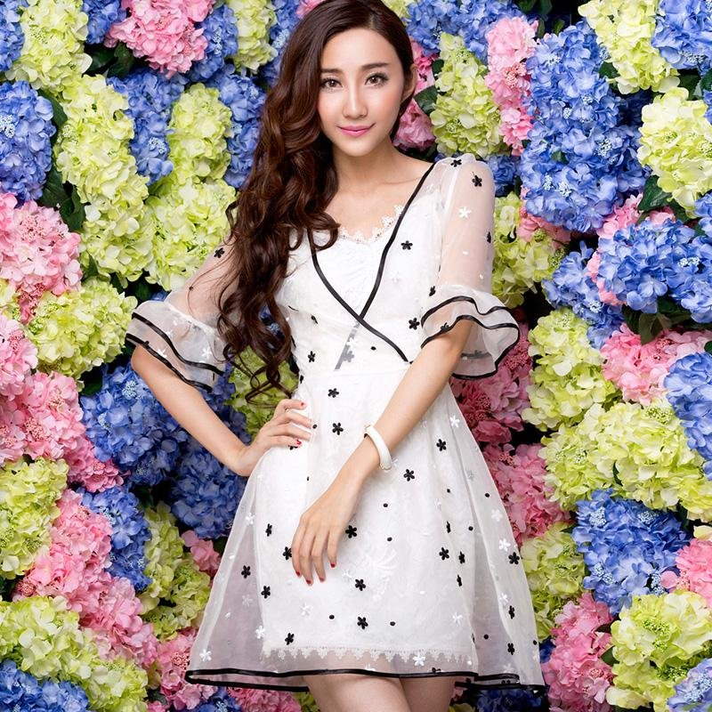 2021 new lace Organza Dress high-end womens dress elegant temperament three-dimensional embroidery perspective dress