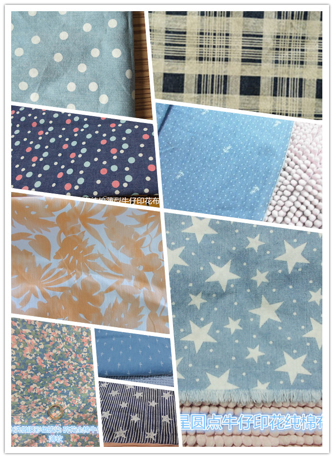 Fabric recycling printing denim head collection pure cotton washed denim rag patching hand patching