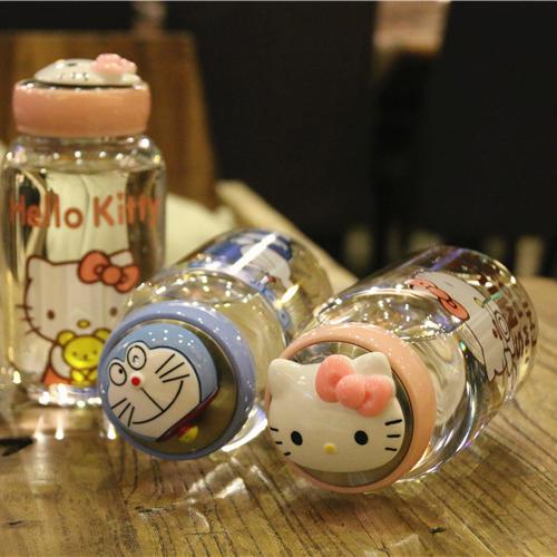 日本kitty猫大容量玻璃杯水壶便携男女学生卡通可爱清新水杯过滤