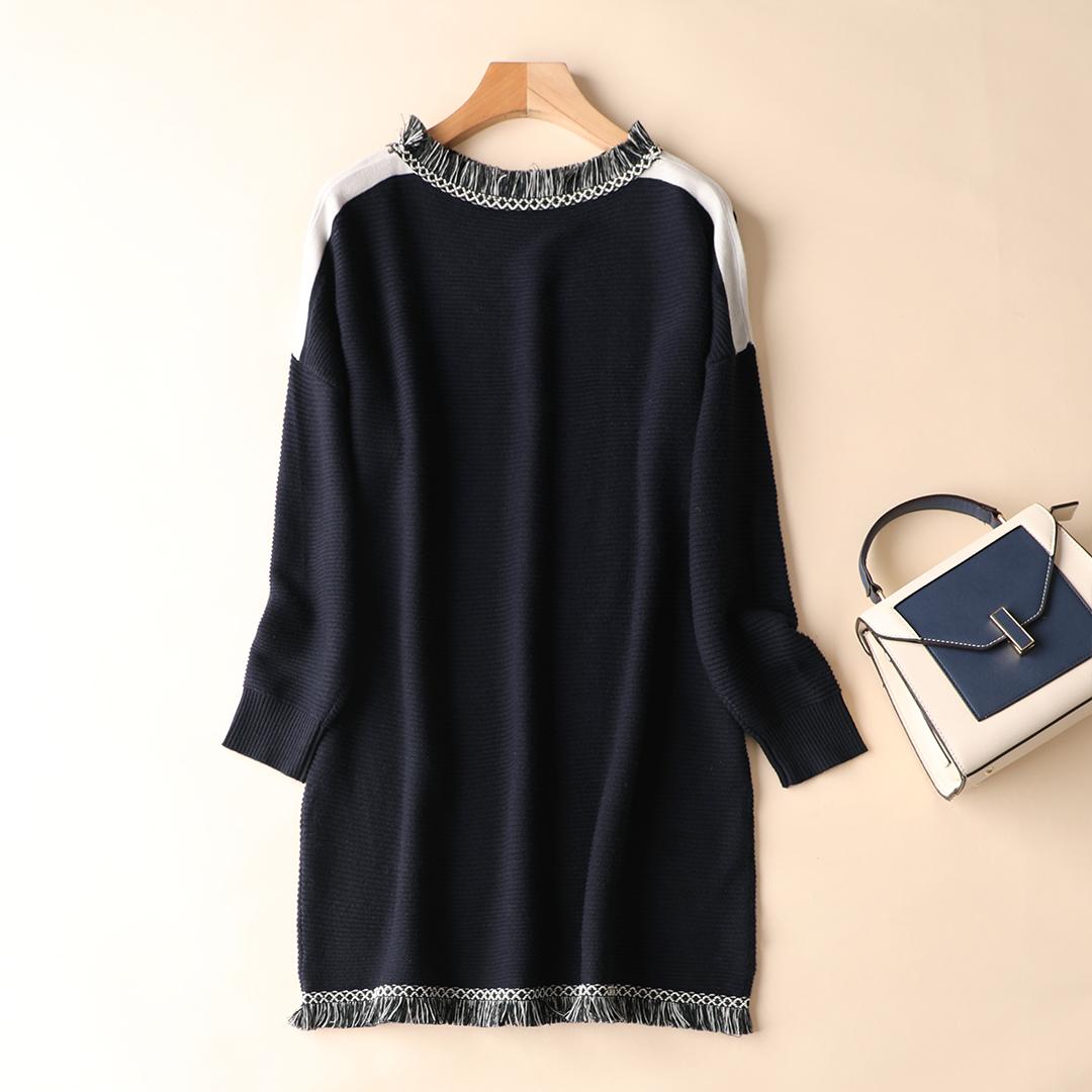 Цвет hit волосы должен край свободный тонкий круглый вырез поддержка вязание свитер платье женщина осень и зима весна домой M662