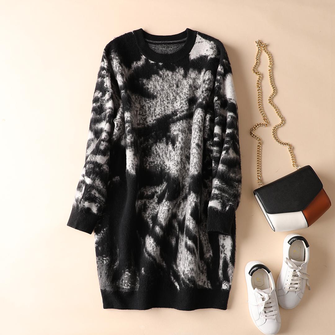 Искусство окрашенный теплый тип круглый вырез свободный тонкий шерсть свитер платье осень и зима весна домой O837