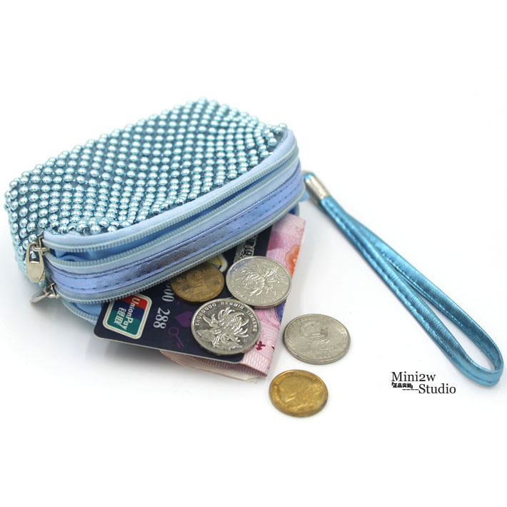 Candy color hand carrying zipper double coin bag pocket change purse shopping bag key card bag change hand bag