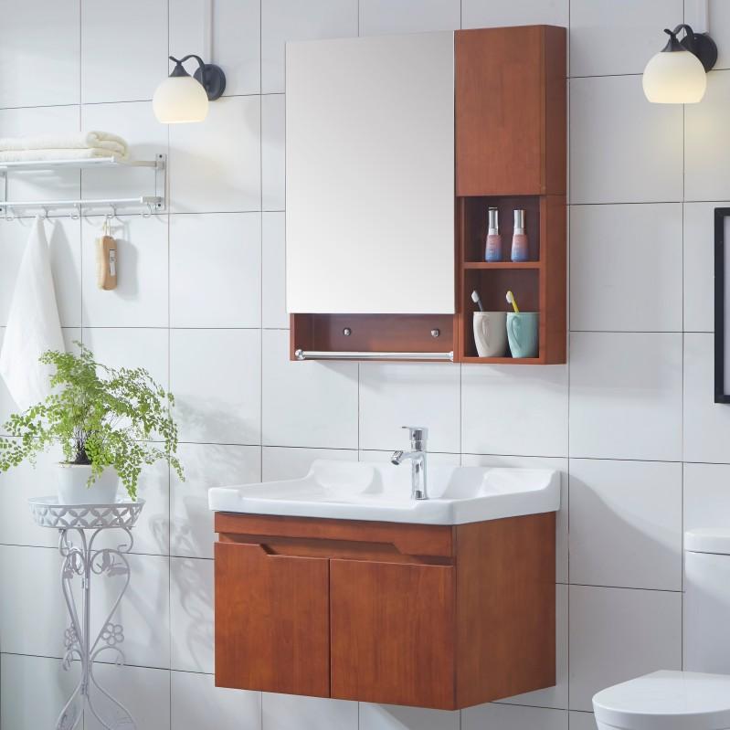 限10000张券橡木实木浴室柜卫浴柜面盆洗手柜洗脸盆洗漱台组合卫生间现代简约