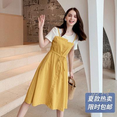 连衣裙2019新款夏假两件黄色智熏裙法式收腰仙女长裙流行女士裙子