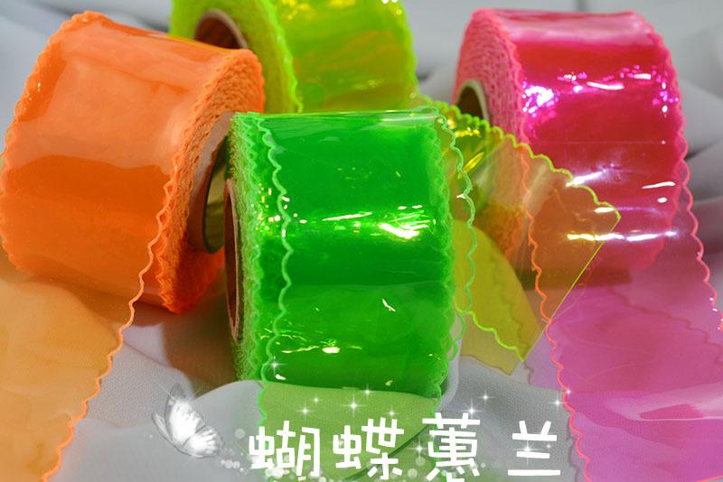 蝴蝶蕙兰 韩国进口5厘米宽波浪边软塑料丝带 diy创意丝带  特价
