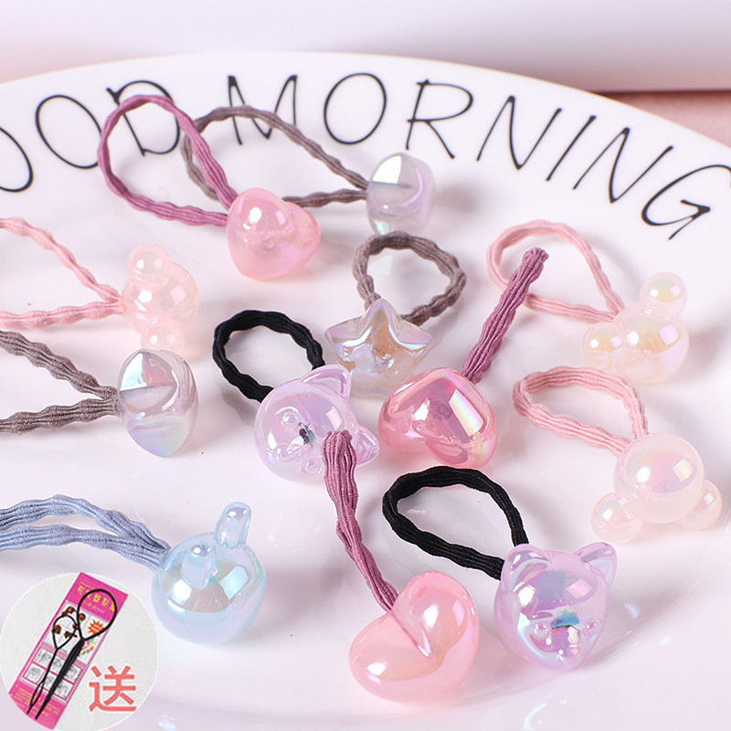 Childrens headband is not easy to break, rubber band ties hair girl crystal hair ring Korean version lovely baby hair accessories do not hurt hair