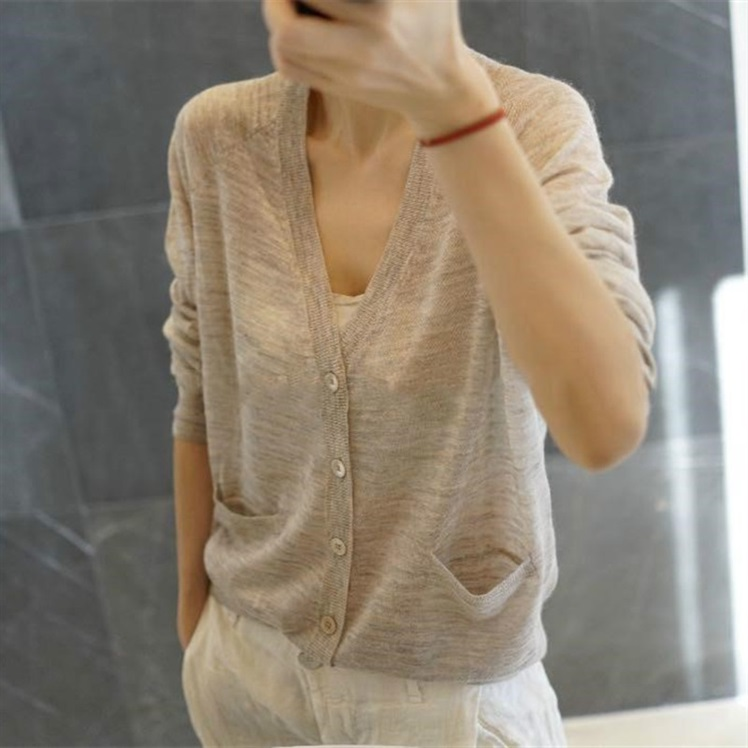 2020春季羊毛针织开衫女V领宽松短款毛衣羊绒薄款外搭韩版外套