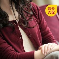 清仓反季秋冬季tb针织衫女士开衫韩版羊绒衫短款圆领毛衣打底外套