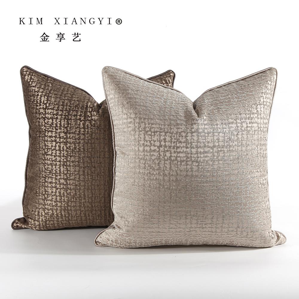 新品现代美式样板房抱枕高端雪尼尔米色靠包客厅沙发靠枕靠垫定做10-21新券