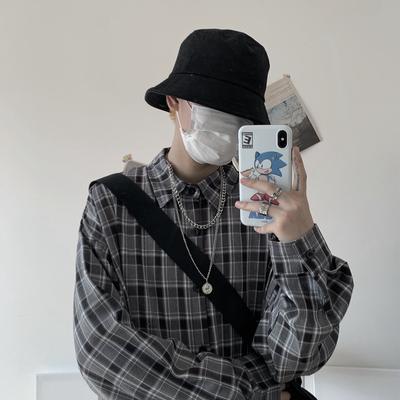 实拍实价控价39 秋季新款韩国复古原宿宽松长袖格子衬衫男女潮