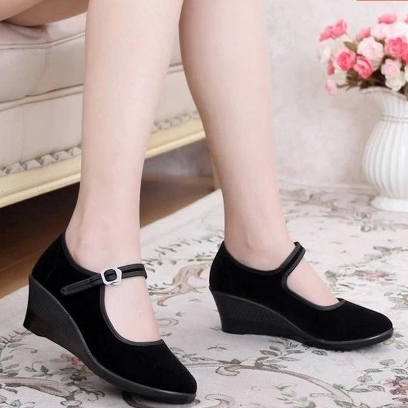 春秋老北京布鞋女鞋單鞋坡跟鞋高跟鞋工作鞋職業百搭女黑色布鞋子