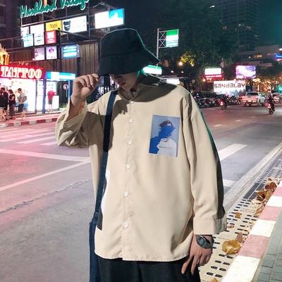 轻薄凉爽简约19夏装新款1宽松大码港风男士七分短袖衬衫 ST15 P45