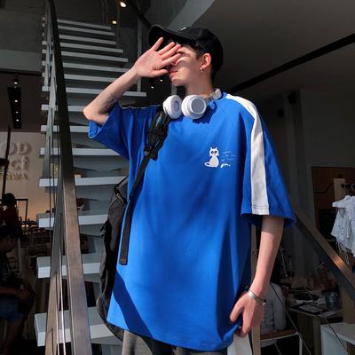已注册夏装2新款小猫卡通印花男装宽松大码港风短袖T恤 ST23 P35