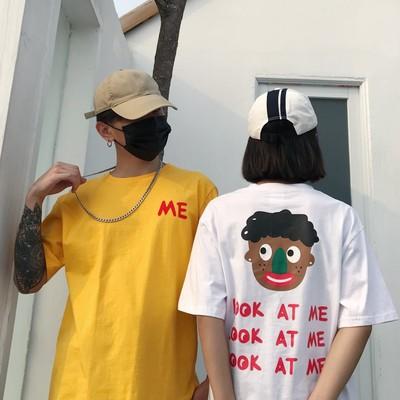 经典款人头印花 日系原宿风潮牌大码情侣男士短袖T恤 BK113 P25