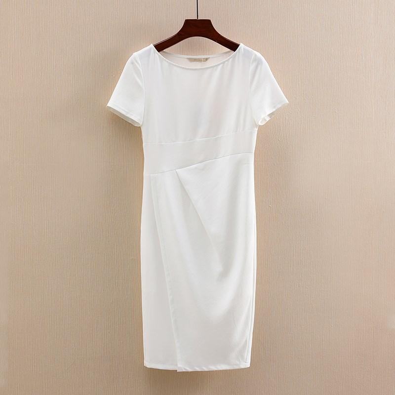 夏装品牌折扣女装2018夏季新款中长款修身连衣裙短袖气质裙子