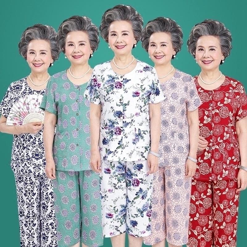 中老年人夏装套装女装60-70岁妈妈老年衣服棉绸奶奶装老人两件套