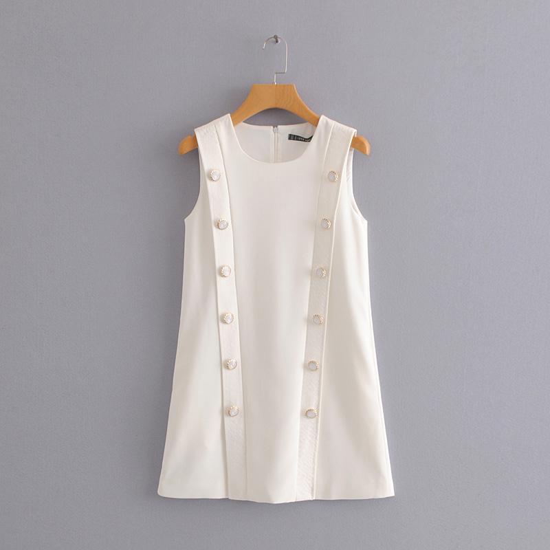 外贸女装 21春季新款韩版显瘦双排扣气质连衣裙无袖圆领背心裙