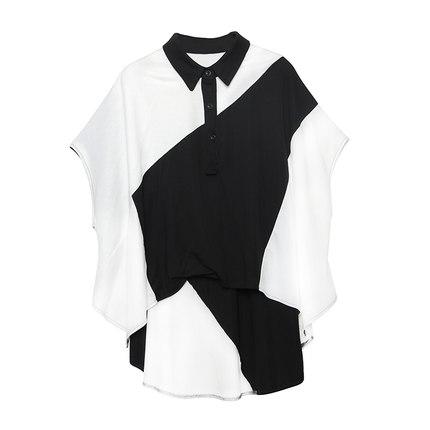 2019夏季新款t恤黑拼白衬衣领衬衫