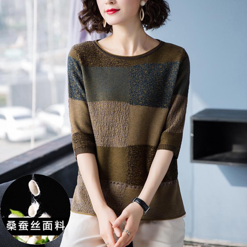 正品桑蚕丝t恤女2020夏季薄款上衣五分袖镂空宽松版半袖T恤衫女
