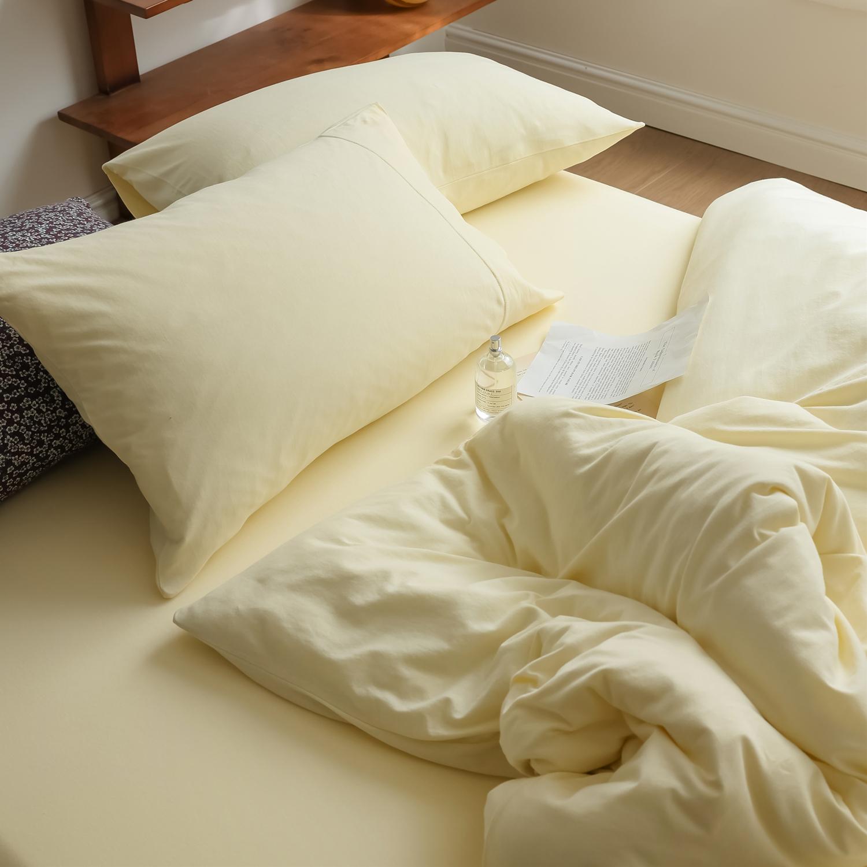 蜜瓜绿 柔软天竺棉针织棉全棉四件套纯棉简约双拼纯色三件套床品