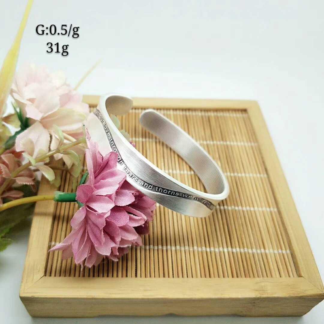 新款特价足银999时尚开口手镯女磨砂做旧纯银镯子银饰送女友礼物