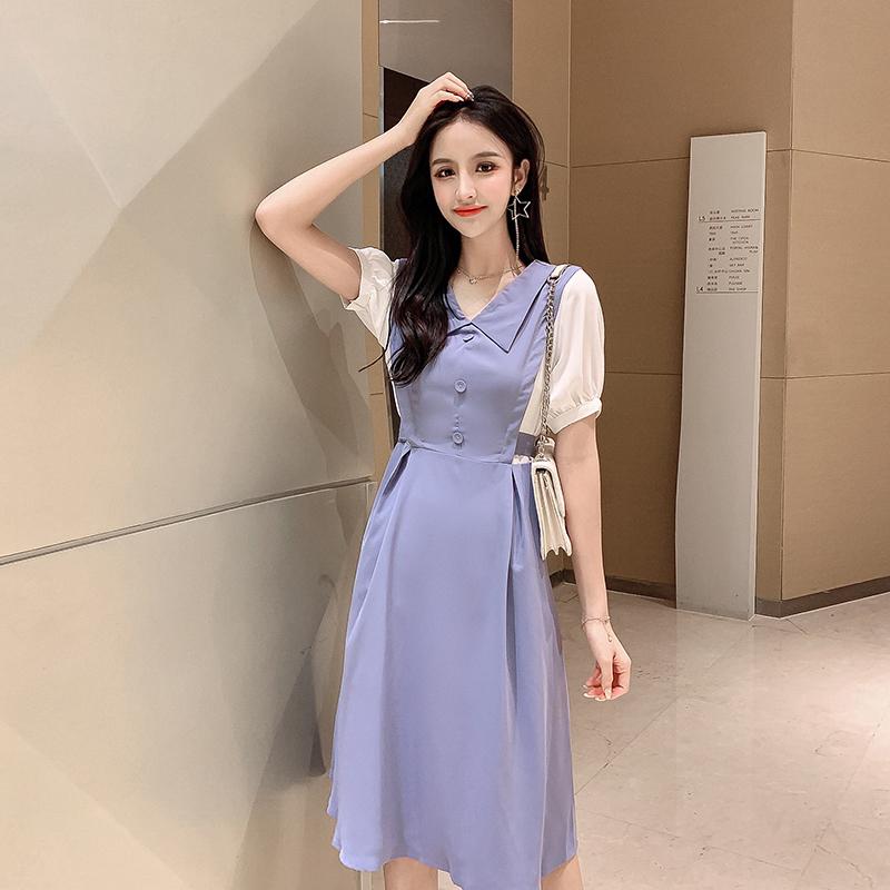实拍 韩版气质高腰娃娃领短袖拼接连衣裙超仙甜美中长裙