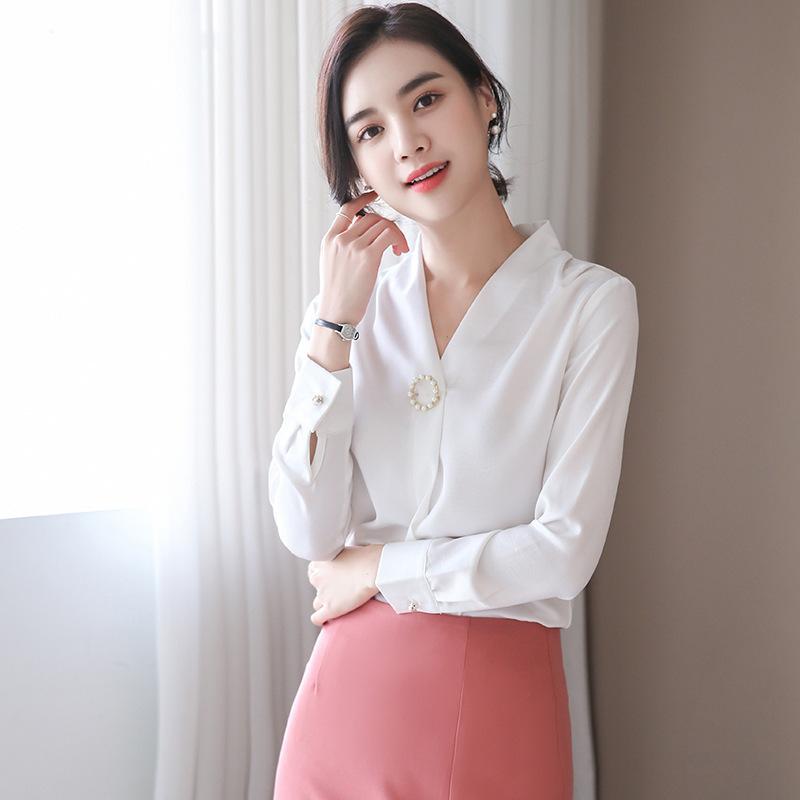 玫红色雪纺2019新款长袖v领白衬衣