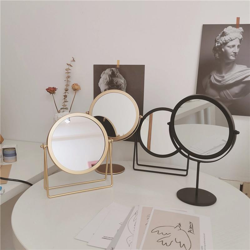 *漂亮的小姨妈* ins简约铁艺台式镜学生简易桌面梳妆镜子化妆镜女图片
