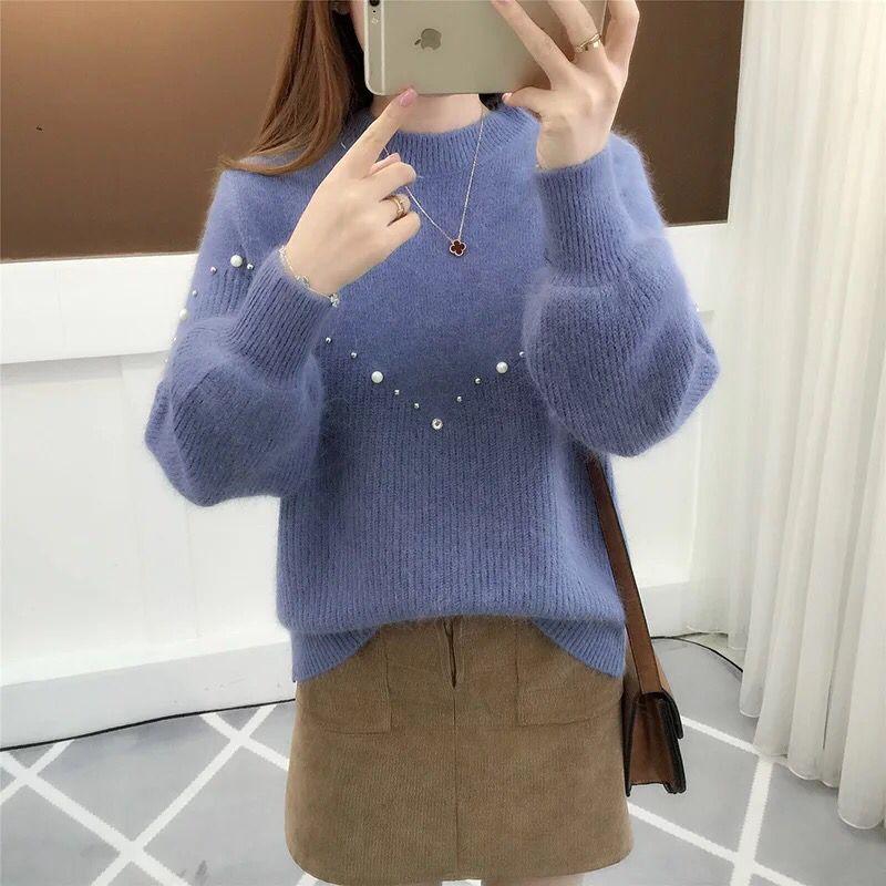 毛衣女春秋套头韩版宽松灯笼袖圆领纯色钉珠针织衫学生厚毛线衣潮
