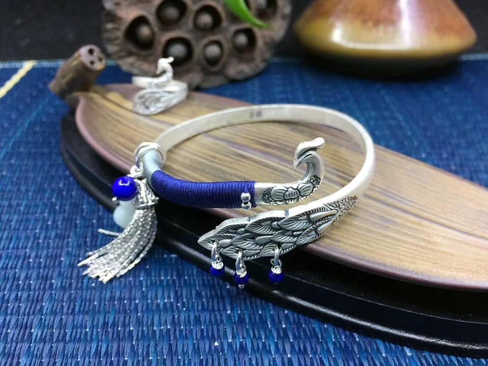 Природный Lapis Jade Gourd Pendant Peacock Bracelet Pure Silver Bracelet Женские бусины Аксессуары