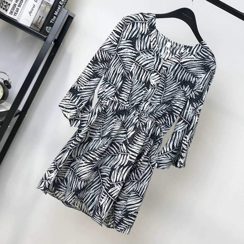 2018 summer new Korean V-neck leaf elastic waist mid long horn sleeve fashionable Chiffon Dress B07