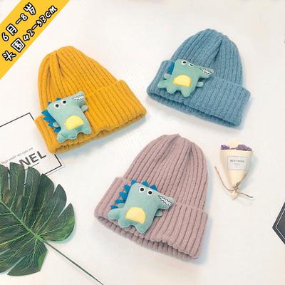男女儿童毛线帽恐龙宝宝帽子1秋冬季6月-8岁保暖2小孩套头帽3纯色