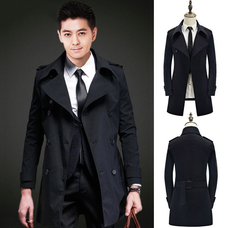 Autumn and winter mens Korean slim windbreaker casual British double breasted Lapel medium length cape coat coat
