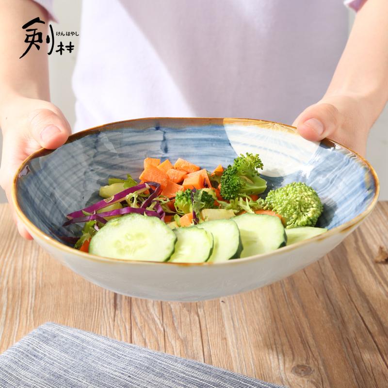 劍林 日式手繪複古 陶瓷碗 大湯菜碗 麵碗 特色水果碗 蒲公英