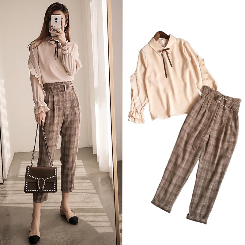 (用5元券)衬衫格子裤两件套洋气网红秋季轻熟气质时尚裤装套装女神2019新款