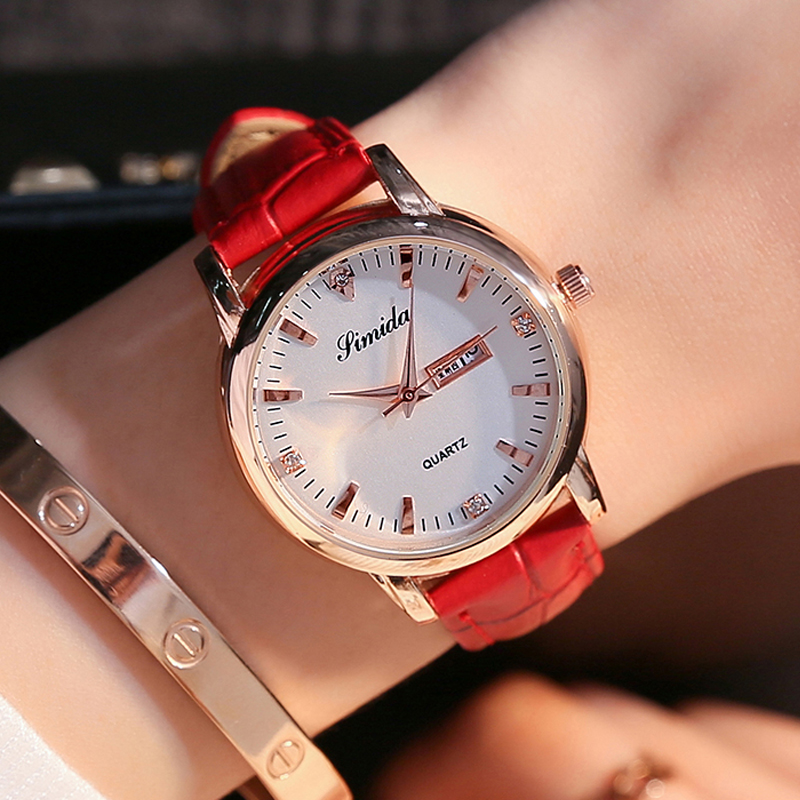 Red real belt diamond inlaid womens watch fashion trend waterproof double calendar rose gold student high-end wrist watch