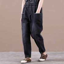物格秋装2020年新款女韩版宽松大码文艺明压线竖叉口袋做旧牛仔裤