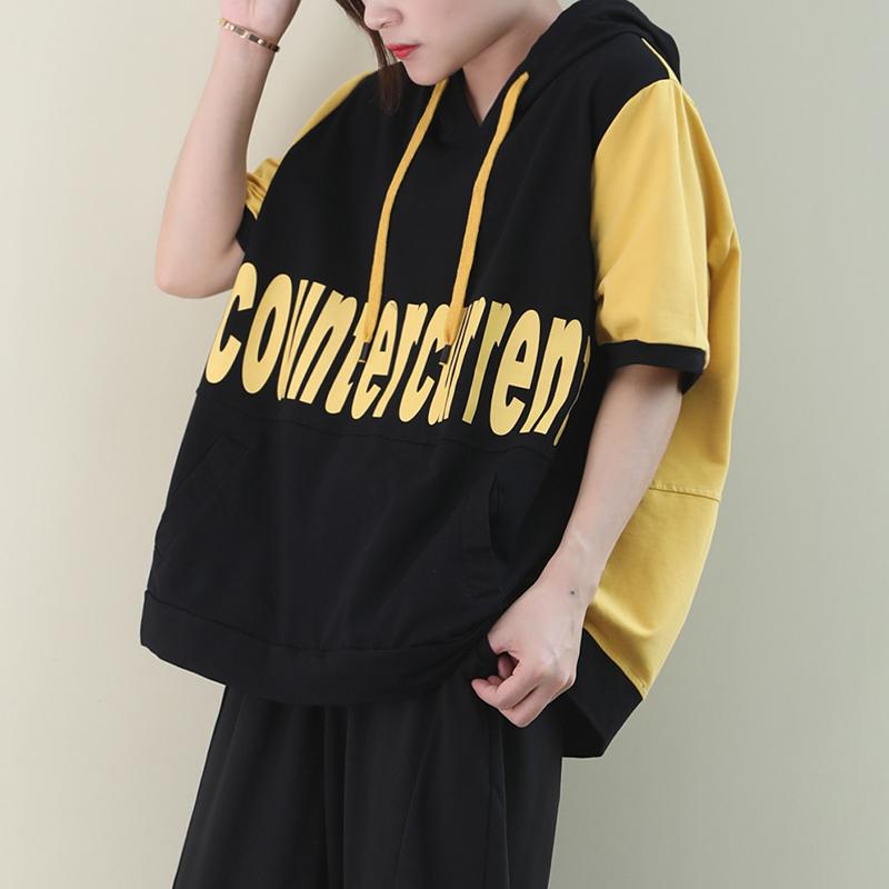物格 夏季2020韩版宽松大码文艺前后撞色字母连帽卫衣短袖T恤女