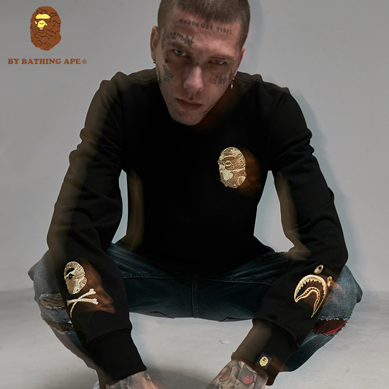 FL0BAPE外套 周年限定正品聯名刺繡嘻哈潮牌APE猿人頭圓領 衛衣男