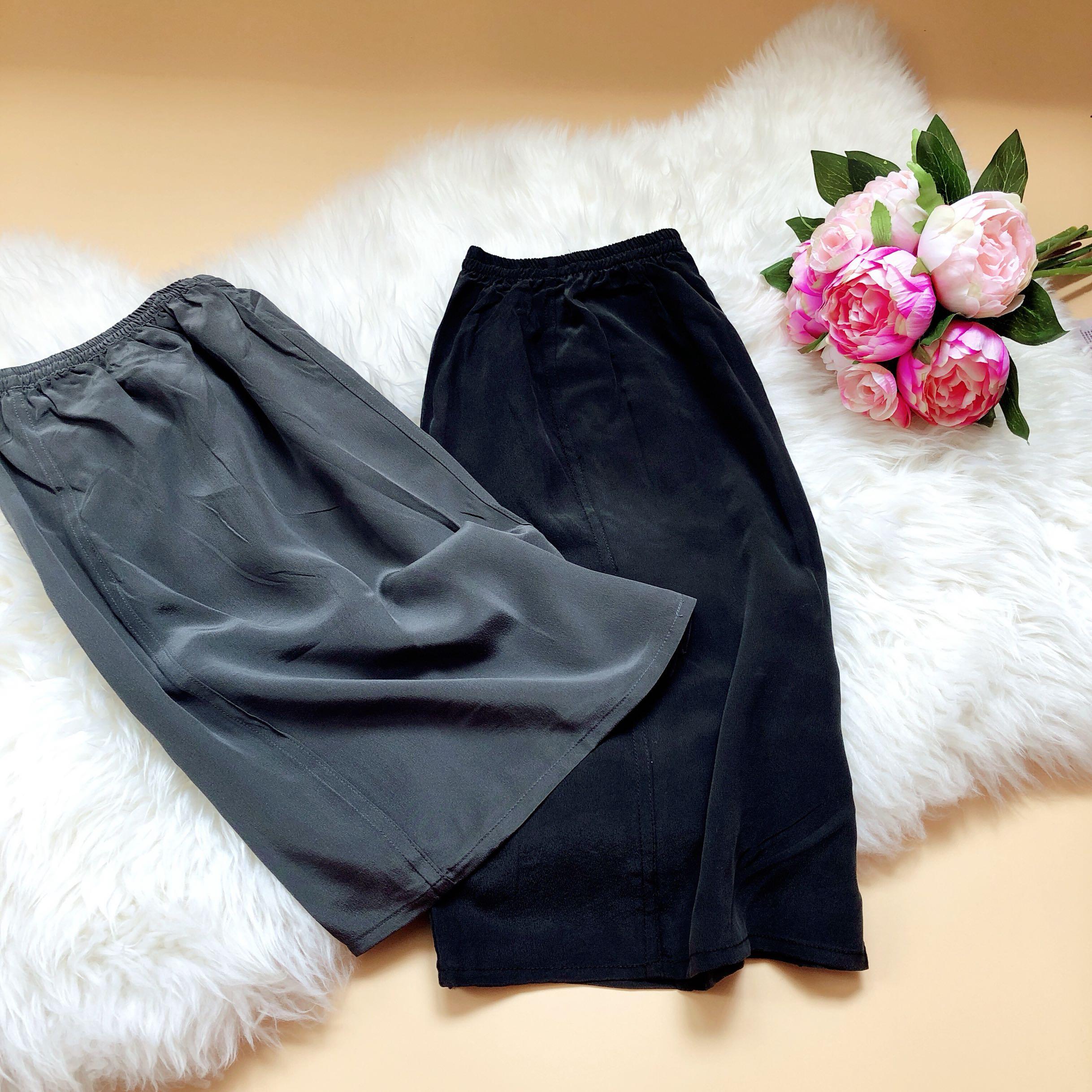 纯真丝沙滩裤 新到深灰色与黑色 加大版本 宽松舒适