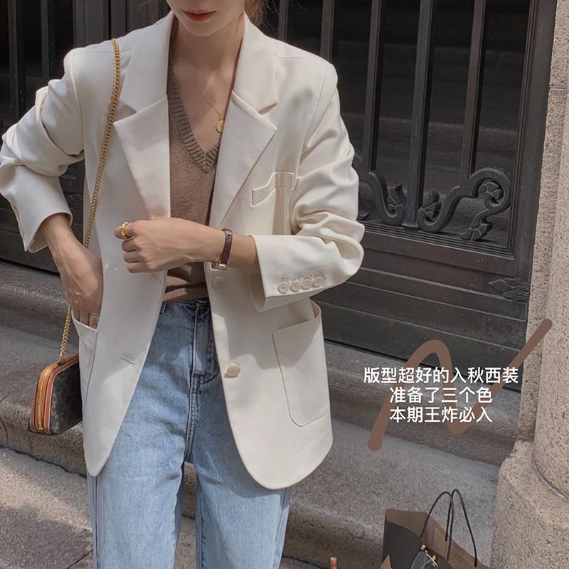 EKOOL定制 廓形宽松西装外套女秋冬2020新款韩版百搭显瘦休闲西服