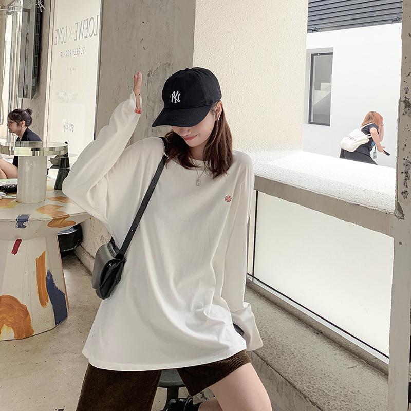 (用14.75元券)ekool刺绣定制宽松圆领t恤打底衫