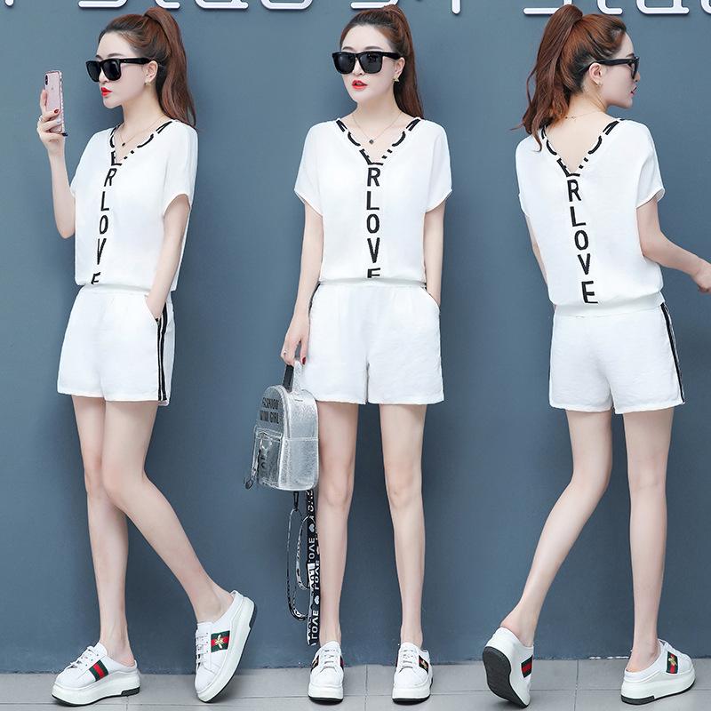 时尚运动套装女2019新款韩版宽松短袖休闲短裤跑步服两件套潮流