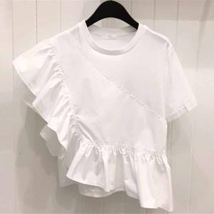 ins超火的上衣2021夏装韩范纯色荷叶边拼接短袖t恤女生酷酷的1886