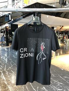 特惠 CREAZIONI ITALY 春夏 男士珠片藝術圖案短袖T恤 81B808210