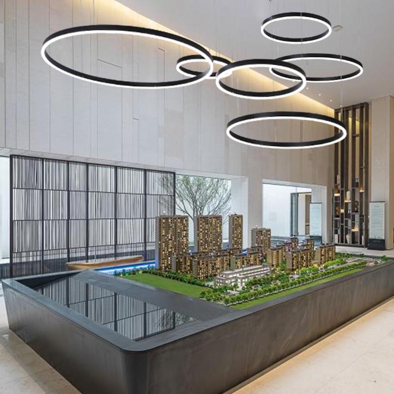 酒店售楼部吊灯 展厅样板房现代简约圆环形北欧大堂大客厅网红灯