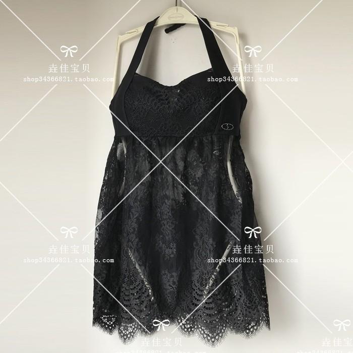 安莉芳 EG0447配套净色蕾丝系列显瘦性感挂脖分体泳衣ES0841 现货